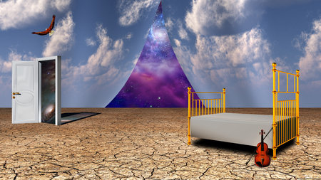 unfold: Surrealism. Bed and violin in arid land. Opened door to another world. Eagle in the sky. Universe behind curtains of sky. Stock Photo