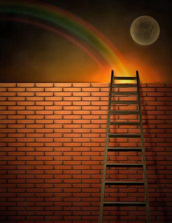 spirtual: Surreal painting. Ladder and brick wall.