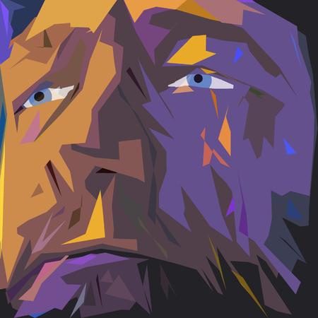 Abstract schilderij. Oude man's gezicht in paarse kleuren.