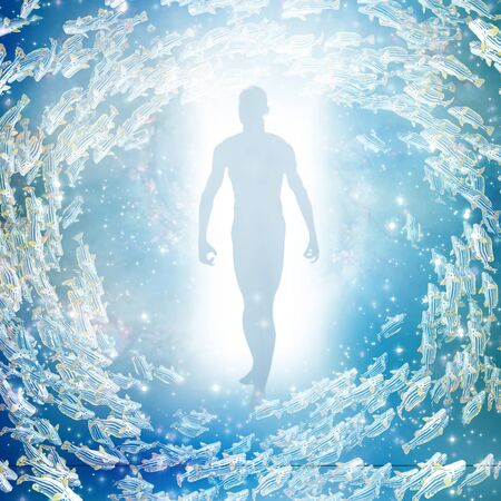 dead fish: human figure coming out of light tunnel Stock Photo