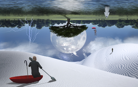 Surreal painting. Man in red umbrella floating on white desert another man flying with umbrella. Figure of man and monk in a distance. Big moon rising above green forest.