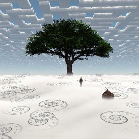 Surreal painting. Man stands before green tree. 版權商用圖片