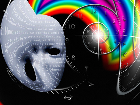 Mask with text and spiral of time. Stock Photo