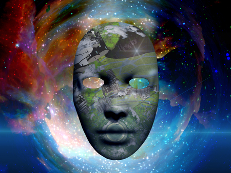Mask with the image of ONeill cylinder. Colorful universe on background.
