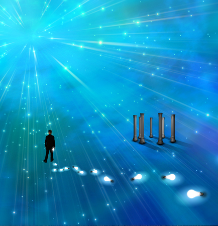Surreal painting. Man stands in endless space. Light bulbs represents ideas. Stock Photo