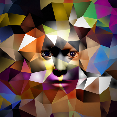 human face on colorful polygonal background