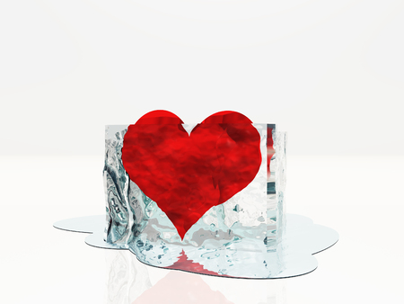 evaporate: Heart in ice melting