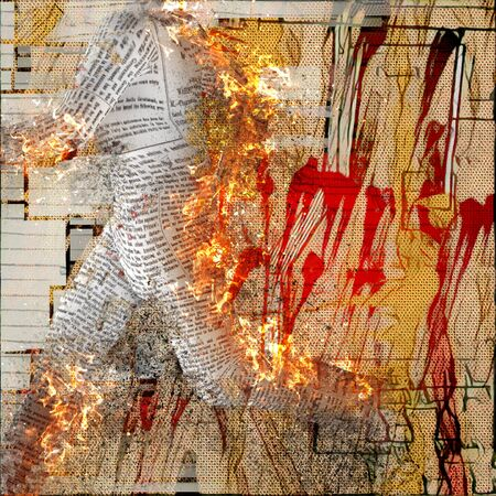 burning paper: Abstraction. Burning figure of paper man. Stains and brush strokes at the background.
