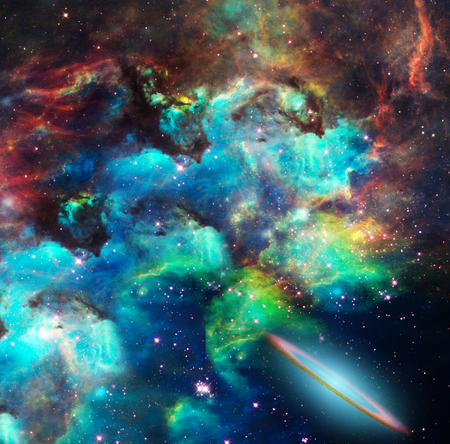 invader: Nebulae, stars, galaxies. Vivid colors. Stock Photo