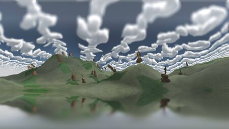 green fields: Surreal painting. Cellos at the green fields. Abstract clouds in the sky.