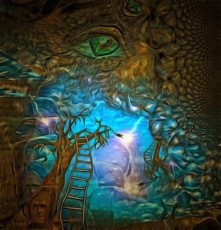 複雑な超現実的な絵画。古い木とはしご。緑色の目。フラクタル パターン。
