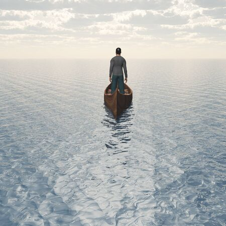 Man in boat floats to bright horizon.