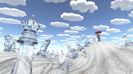 Surreal desert with chess figures man with red umbrella and nearly identical clouds.