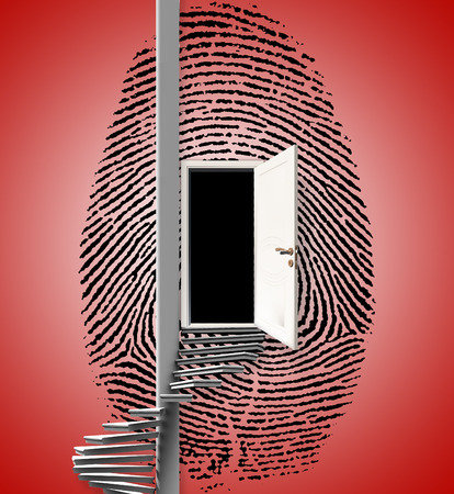 Surrealism. Fingerprint with opened door and spiral ladder. Stock Photo