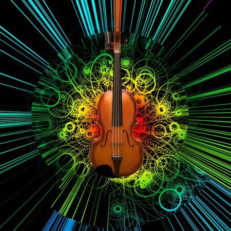 Digital modern painting. Violin on abstract background.