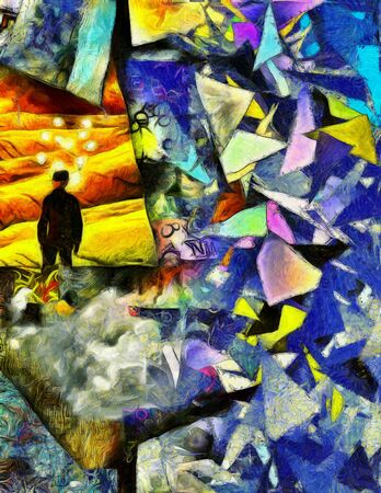dimensions: Complex surreal painting. Man in suit and bowler hat stands in green field. Light bulbs around his head symbolizes ideas or thoughts. Abstract background with colorful geometric elements.