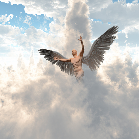 Surrealism. Naked man with angels wings flies in cloudy sky. 3D render. 版權商用圖片