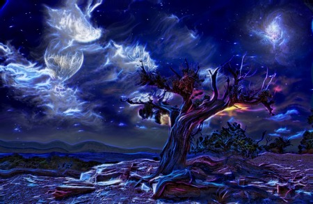 parch: Surreal painting. Old tree, full moon and mystic clouds in the sky.