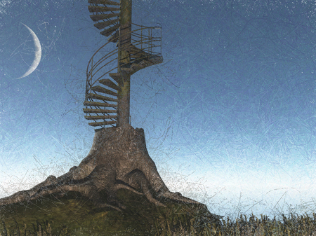 clutter: Surreal digital art. Tree is circular stairs.
