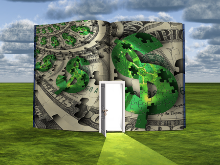 opportunity sign: Surrealism. Book with opened door and dollar sign on a puzzle background. Stock Photo