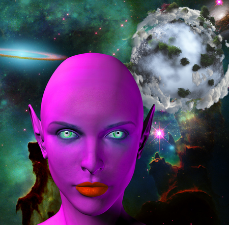 colonization: The face of female alien. Colorful universe and abstract exoplanet on a background. Stock Photo