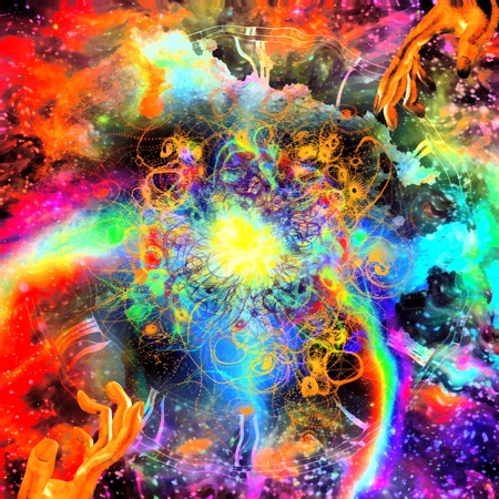 Colorful universe and hands of creator Imagens