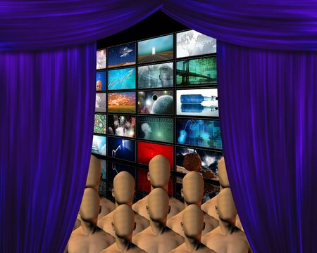 perform: Crowd behind curtain with video screens