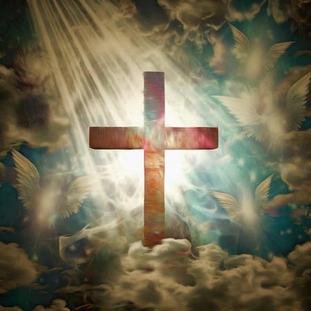Pintura surrealista Cruz cristiana y ángeles en el cielo.