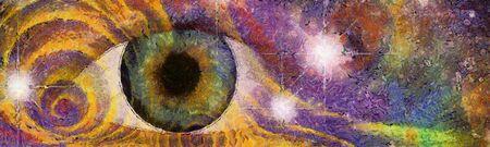 Hallucinagenic Style Eye en Pattern Stockfoto