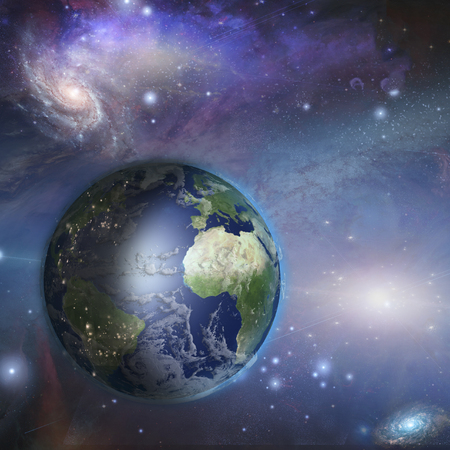 Earth day night in space  Elements in theis image were furnished by Nasa Stock Photo