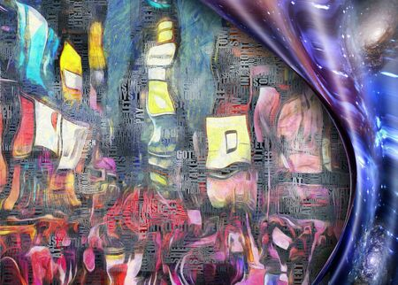 Times Square New York Painting. Picasso style. Warped space. Words.