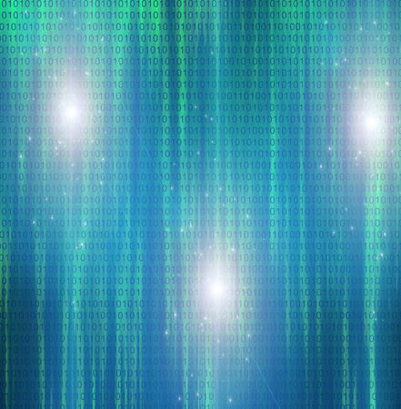 Binary code on azure background. Stock Photo