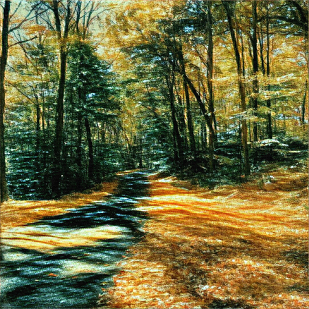 rural road: Oil painting. Autumn forest. Stock Photo