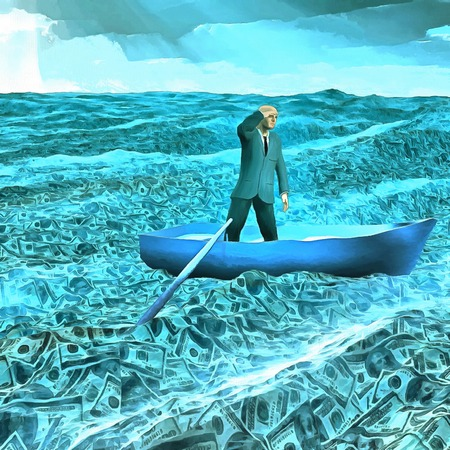 Surreal painting. Man in suit floats in boat in ocean of money. Stock Photo