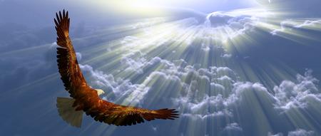 Guia em vôo acima das nuvens Foto de archivo - 82197113
