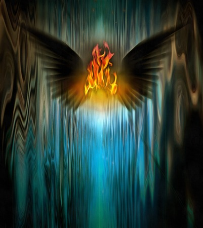 sinful: Surrealism. Fire between black wings.