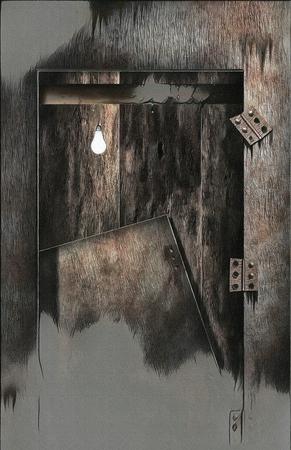 Surreal painting. Broken door, light bulb.