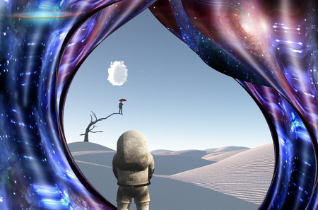 Surrealism. White desert. Man with red umbrella stands on a dry tree. Astronaut. Warped space. Stock Photo
