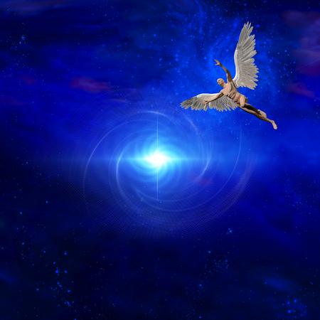 Surrealisme. Heldere ster. Naakte man met vleugels vertegenwoordigt engel.