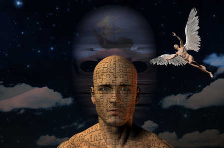 Surreal painting. Ancient ship on a seashore. Naked man with wings represents angel. Mans head with puzzle pattern.