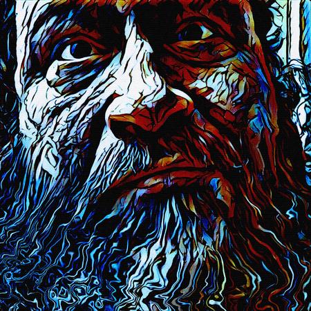 healer: Illustration. Old mans face.