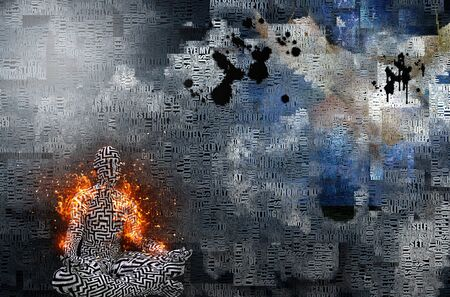 Abstract clouds. Words. Burning man in lotus pose. Pattern of maze on his skin. Stock Photo