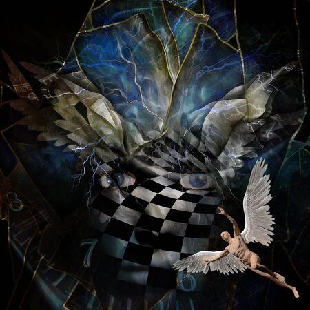 Surréalisme. Les ailes de l'ange. Visage en motif d'échiquier. Un homme nu avec des ailes représente un ange. Spirale du temps. Banque d'images - 82197282