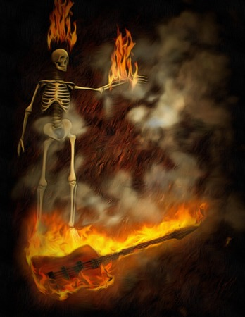 Surreal painting. Burning skeleton and bass.