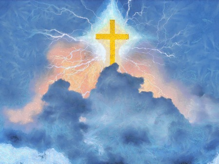 Surreal painting. Shining cross and lightnings in cloudy sky.