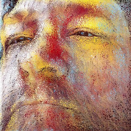 イラスト。老人の顔。 写真素材