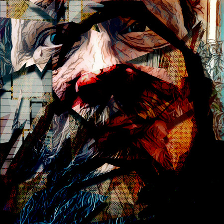 Abstract painting in dark colors. Old mans face.