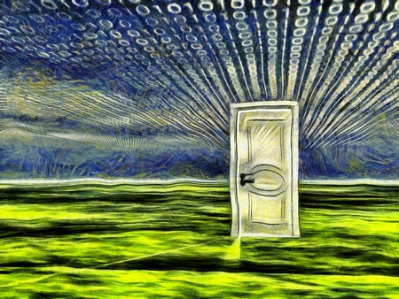 Surreal painting. White door stands on a green surface. Binary code in the sky.