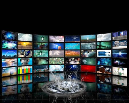 Wall of TV screens with surreal images.