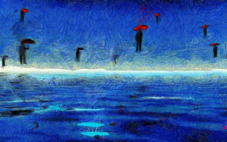 シュールな絵。男性は、赤い傘で飛ぶ。